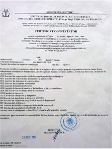 Certificatul constatator privind autorizarea functionarii